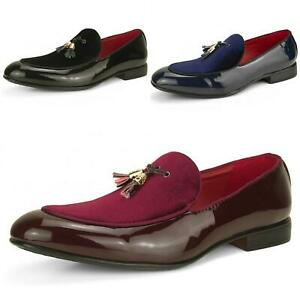 49731e798bc Men s Slip On Tassel Loafers Suede Leather Shiny Patent Smart ...