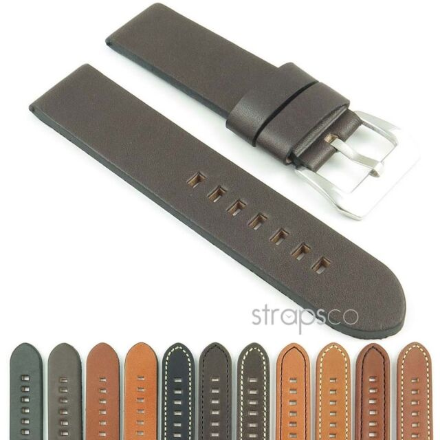 StrapsCo Vintage Style Thick Leather Watch Strap Mens Band in sizes 18mm - 26mm
