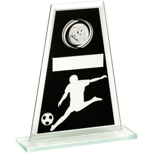 Black & Silver Glass Football Trophy,Award,3 Sizes,FREE Engraving TD521cl