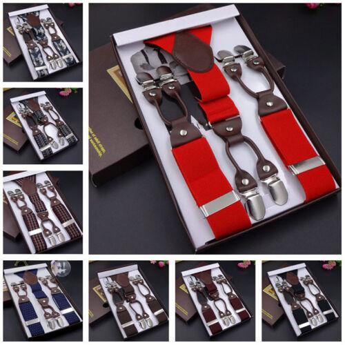 FS945 Unisex Y-Back Elastic Braces Leather Suspender 6 Clips-On Belts Fantastic