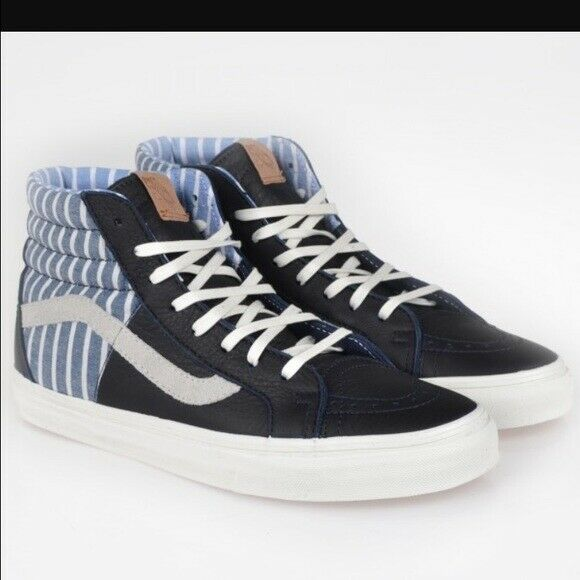 Vans Classic SK8 Hi Top Reissue azul Leather Stripe Mens zapatos zapatilla de deporte