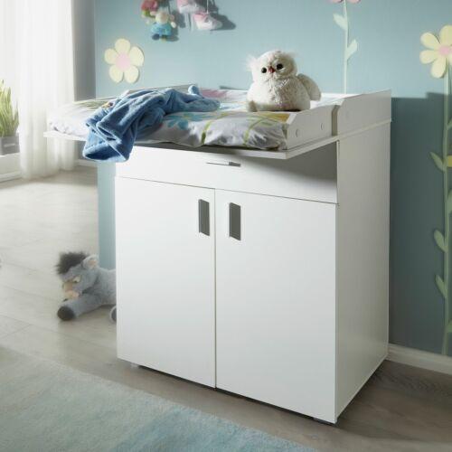 FineBuy Wickelkommode Weiß 75x100 cm Wickeltisch mit Ablage Kleine Baby Kommode