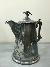 Victorian Gothic Antique Silver Coffee Pitcher Pot Trophy Eagle Bird Topper 1906
