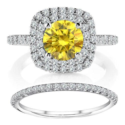 1.25 TCW Fancy Yellow Diamond Cushion Halo Ring Wedding Band 14K White Gold