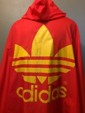 Vtg Adidas Poncho Rain Shell One Size 90s Hooded Trefoil Jacket Coat Hiking Hood