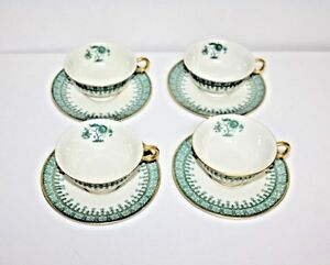 4 THEODORE HAVILAND CAMBRIDGE USA GREEN TREE BANYAN BONSAI TEA CUPS AND SAUCERS