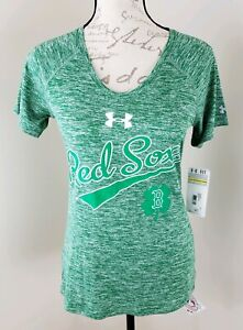 Under-Armour-Small-Boston-Red-Sox-Heat-Gear-MLB-Shamrock-Women-039-s-Shirt-NWT-AN