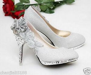 4de4523b86f New Silver beautiful Vogue lace Flowers Crystal High Heels Wedding ...