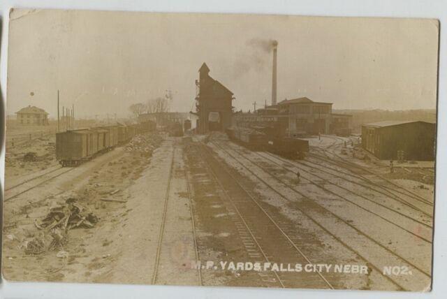 1911 Missouri Pacific Railroad Falls City Nebraska Real Photo Postcard RPPC