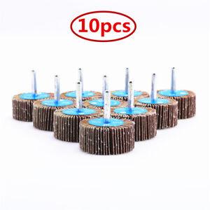 10pcs 80# Grit Sanding Flap Wheel Disc Sandpaper Polishing Pad Shank Rotary Tool