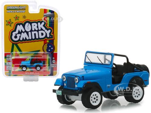 """1972 JEEP CJ-5 BLUE /""""MORK /& MINDY/"""" TV SERIES 1//64 DIECAST CAR GREENLIGHT 44830 A"""