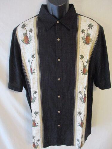 Batik Bay Reg Rayón Negro Estampado Tropical Dobladillo Cuadrado Camisas Casuales sr$ 46 Nuevo