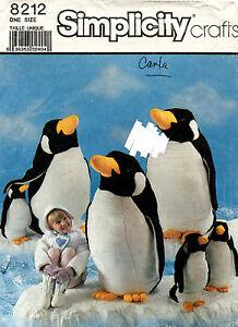 1980's VTG Simplicity Stuffed Penguins Pattern 8212 Size L,S UNCUT