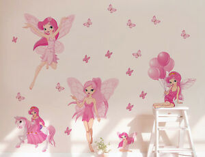 Image Is Loading Pink Fairies Wall Stickers Removable Kids Baby Decals