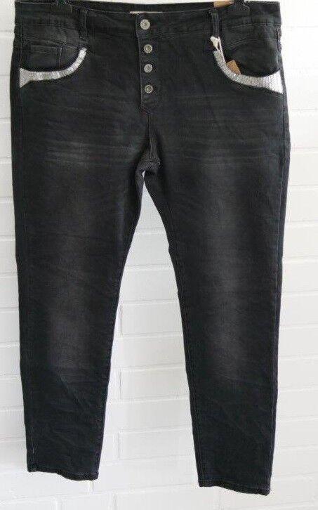 Karostar Coole Big Größe Jeans Hose schwarz schwarz 3XL ca. 48 50 Pailletten