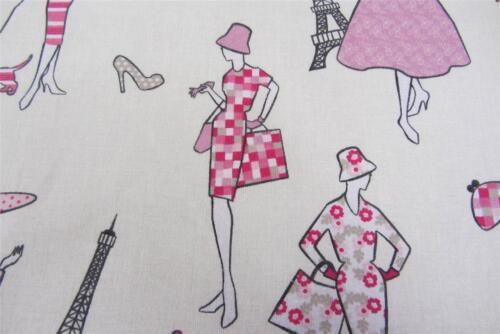 Glamor Lipstick Pink Cotton Curtain//Craft Fabric