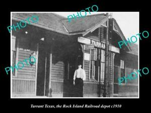 OLD-LARGE-HISTORIC-PHOTO-OF-TARRANT-TEXAS-ROCK-ISLAND-RAILROAD-DEPOT-c1910