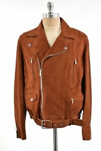 Brunello Cucinelli NWT Asymmetrical Leather Jacket Size L In Solid Brown Suede