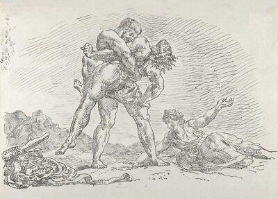 Hercules and Antaeus 1852 EUGENE DELACROIX French Romanticism Poster