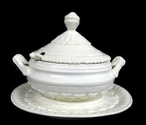 Italiano-Porcelana-Whiteware-Relieve-Hojas-12-1cm-Mini-Sopera-y-Platillo