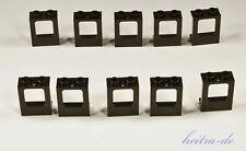 LEGO - 10 x Fenster / Zugfenster / Schiffsfenster 1x2x2 schwarz / 60032 NEUWARE