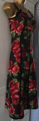 Black Floral Dress Uk Stunning Size 8 Fit Bennett LK Flare PRtAwE