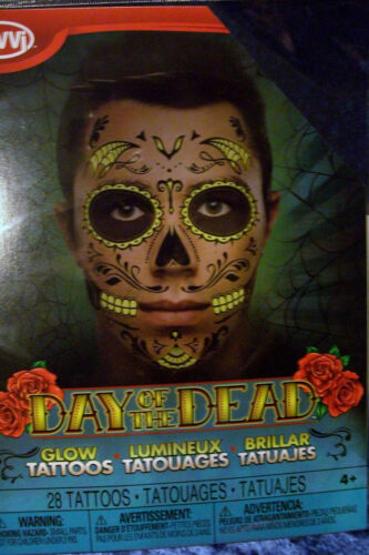 Day of the Dead Face TATTOO Male Man Face Tattoo Halloween GLOWS IN DARK Skull!