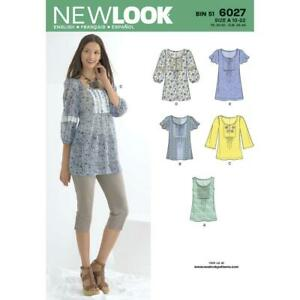 e15d1a3afae New Look Sewing Pattern 6027 Misses Tunic Tops Sleeve Dress Size 10 ...