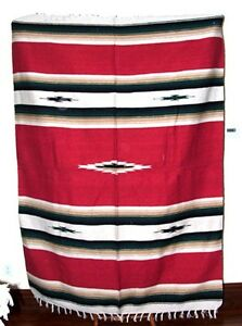 Mexican Blanket Throw Diamond Center 5'x7' Woven Southwestern New Bright Red