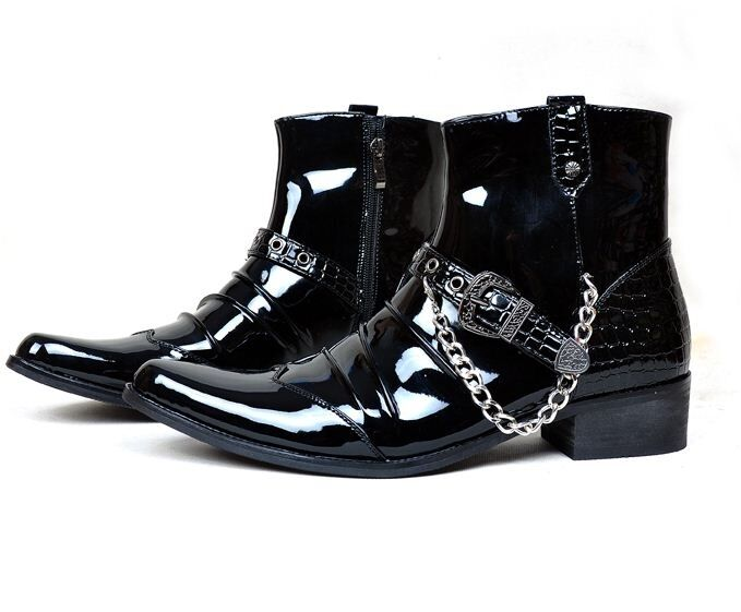 Uomo patent leather metal chain casual cowboy zipper rock chukka ankle Stivali
