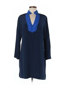 Women-Sail-to-Sable-Navy-Royal-Blue-Bright-Beads-Tunic-Silk-Preppy-Dress-Size-M