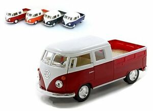 New Kinsmart Diecast Cars 1963 VW VOLKSWAGEN BUS DOUBLE CAB PICKUP WITH PRINT