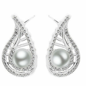 Luxury-Silver-Plated-White-Pearls-Bridal-Wedding-Prom-Evening-Stud-Earrings-E817