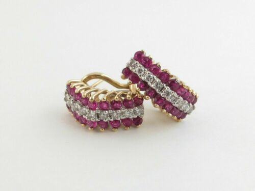 Details about  /14K Yellow Gold Finish 1.30CT Round Cut Ruby Beautiful Earrings For Special Gift