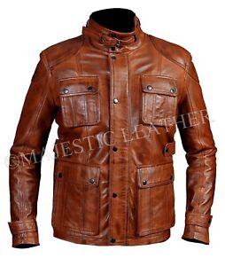 huge selection of 8c23a 58715 Dettagli su Uomo Motociclista Vintage Antico Marrone Inverno Giacca di Pelle