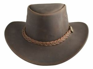 Lesa Collection Distressed Leather Western Outback Australian Style Hat  Brown f3f93275bea1