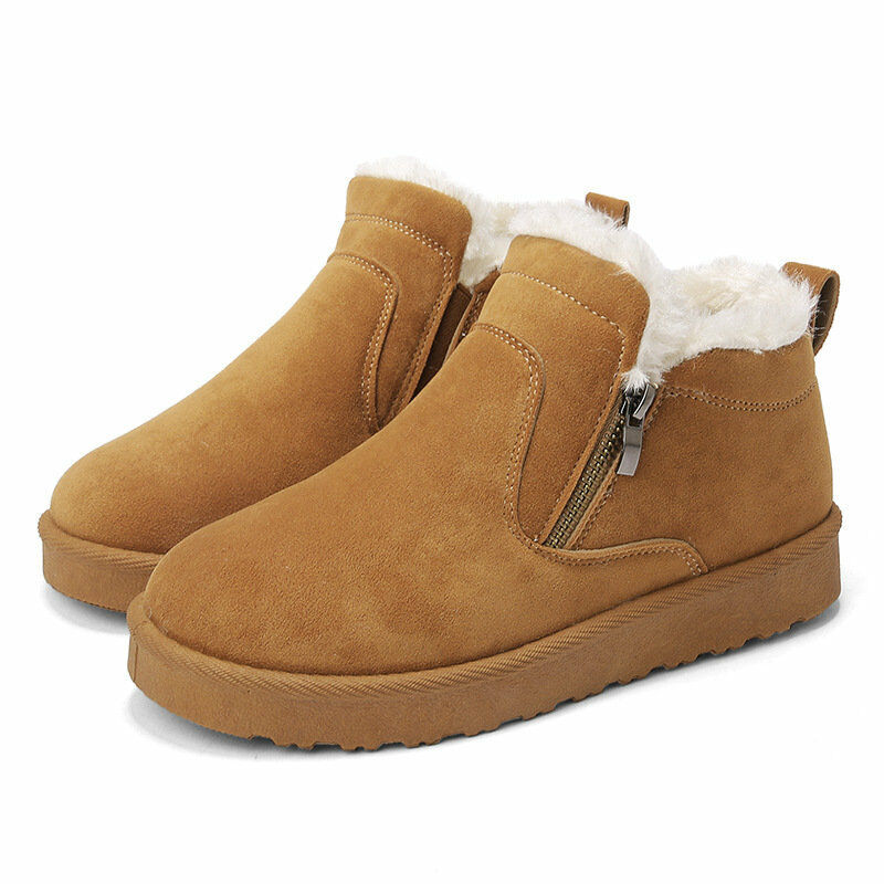 Winter Women's Warm Cotton shoes Ankle Boots Round Toe Flats Fur Lining Snug