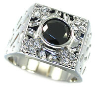 Simulated Jet Black Sapphire & Crystal Silver Rp Mens Ring Size 10