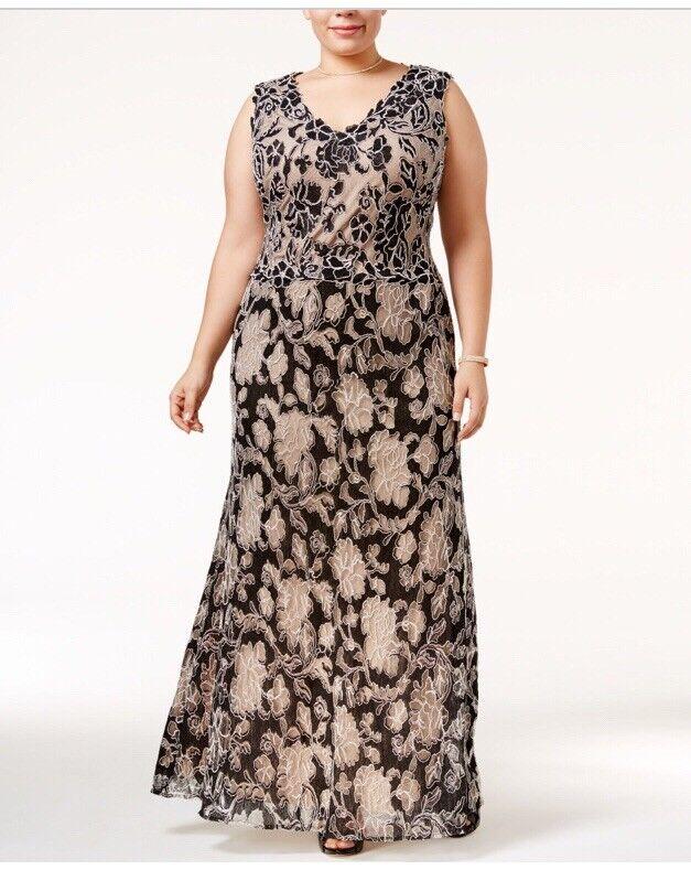 Betsy & Adam NEW schwarz Floral Cord Woherren Größe 14W Plus Ball Gown