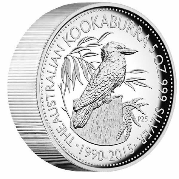 2015 25th Anniversary Australian Kookaburra 5oz Silver Proof High Relief Coin LE