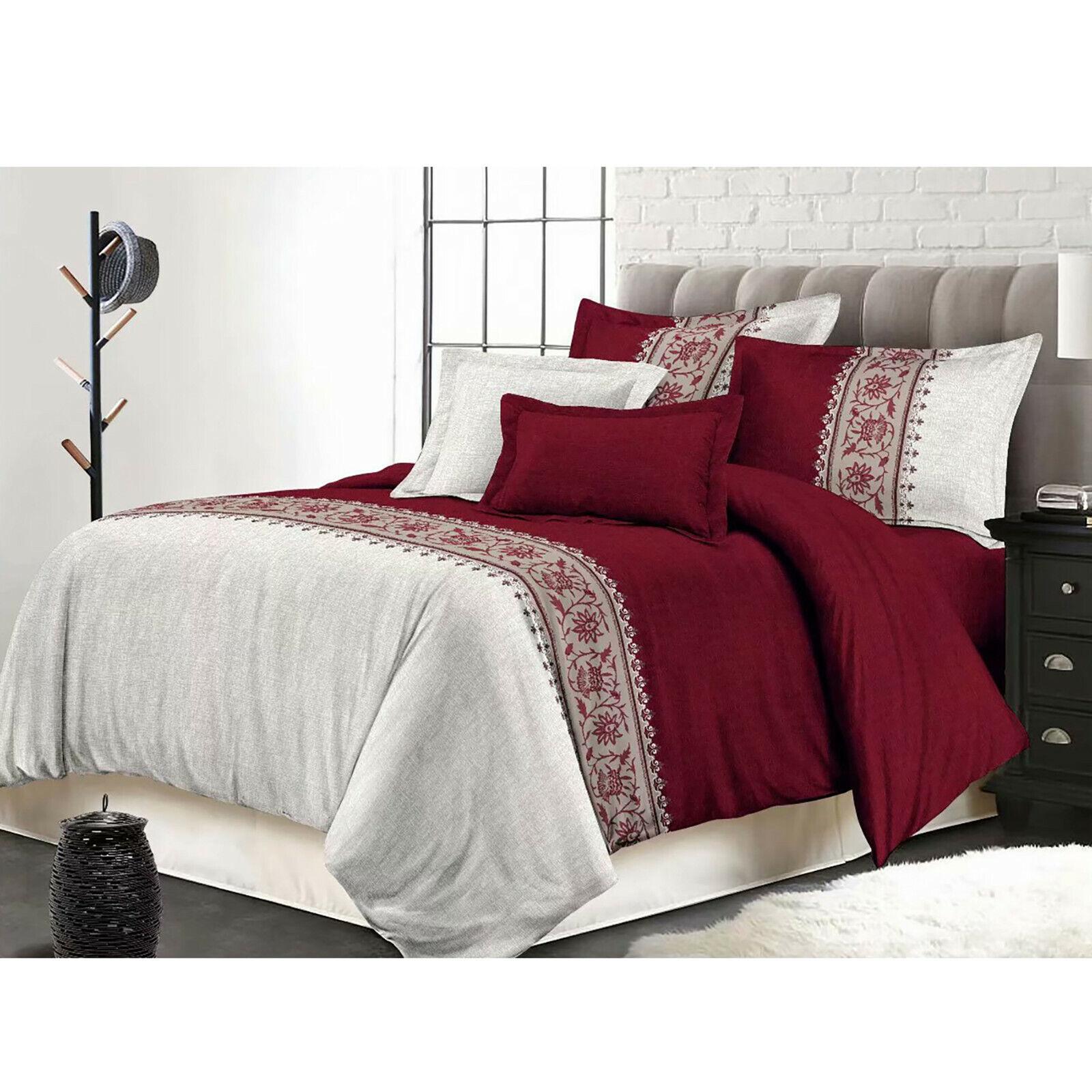 5 Pcs Luxury Bedding Comforter Set Bed In A Bag,King Größe, Keiskei Wine rot