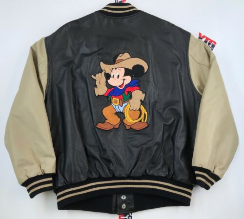 Vintage MICKEY MOUSE Cowboy Western Leather Jacke… - image 1