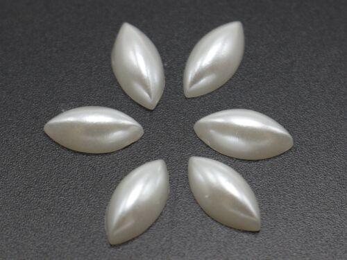 1000 Pure white Horse Eye Half Pearl Bead 4X8mm Flat Back Scrapbook Craft