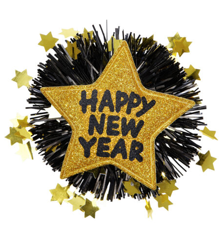 HAPPY NEW YEAR PARTY BROOCH BADGE PIN NOVELTY GLITTER SPARKLE HOGMANAY