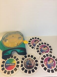 View-Master-Green-amp-Yellow-FISHER-PRICE-REEL-Viewer-2002-With-5-Reels-Lot-Disney