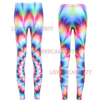 Psychedelic Rainbow Vortex semi satin leggings - 8-18 UK geometric fractal yoga