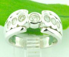 18k Solid White Gold 0.78 ct ladies Natural Diamond Ring 7 stones Bezel set