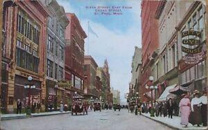 1910-St-Paul-MN-Postcard-Sixth-Street-Downtown-Minnesota-Minn