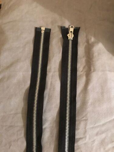 YKK 108 cm long d/'une manière Ouverte Noir Argent Dents de haute qualité zip tête Taille 8