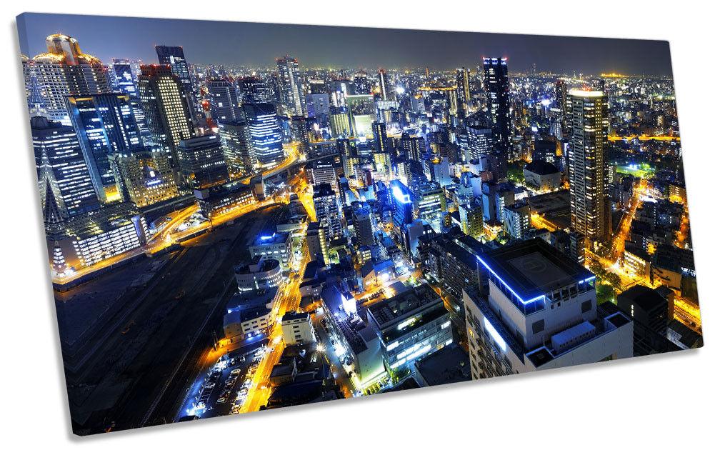 Osaka Japan Skyline Skyline Skyline Picture PANORAMIC CANVAS WALL ART Print 68e715